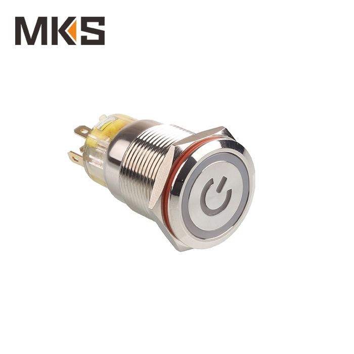 LED push button switch with power symbol 12V stainless steel blue MKS-F19