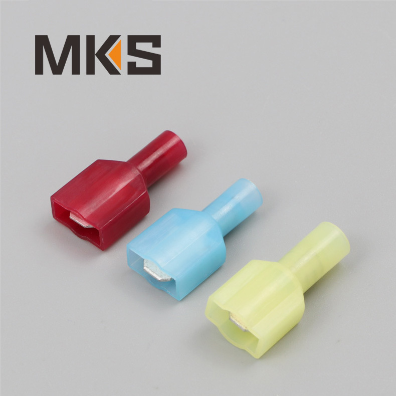 Nylon material brass fully insulated male disconnect wire connector terminal.