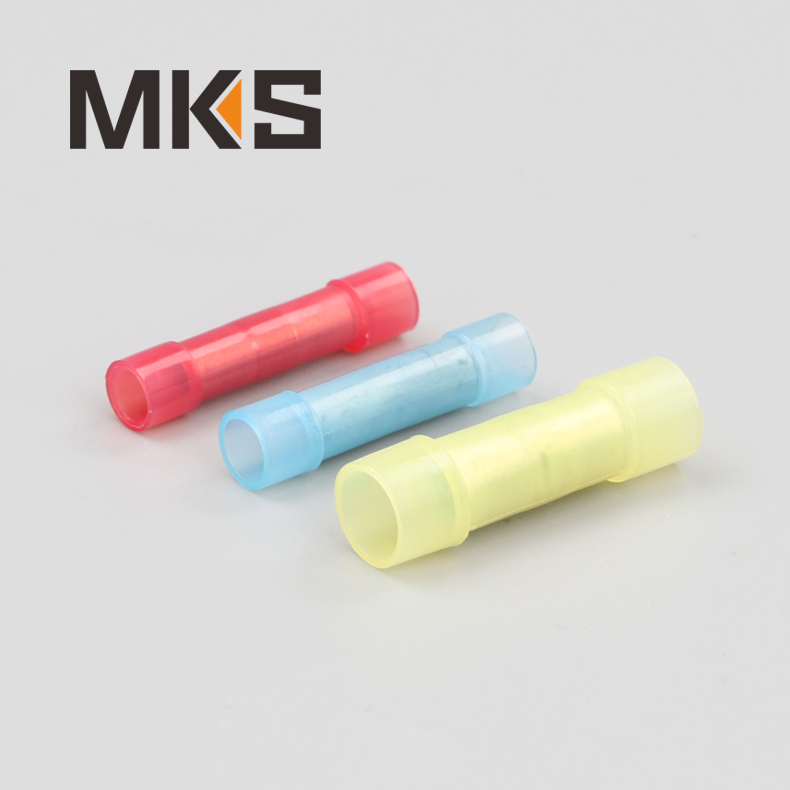 red blue yellow Nylon material insulated butt splice terminal connector