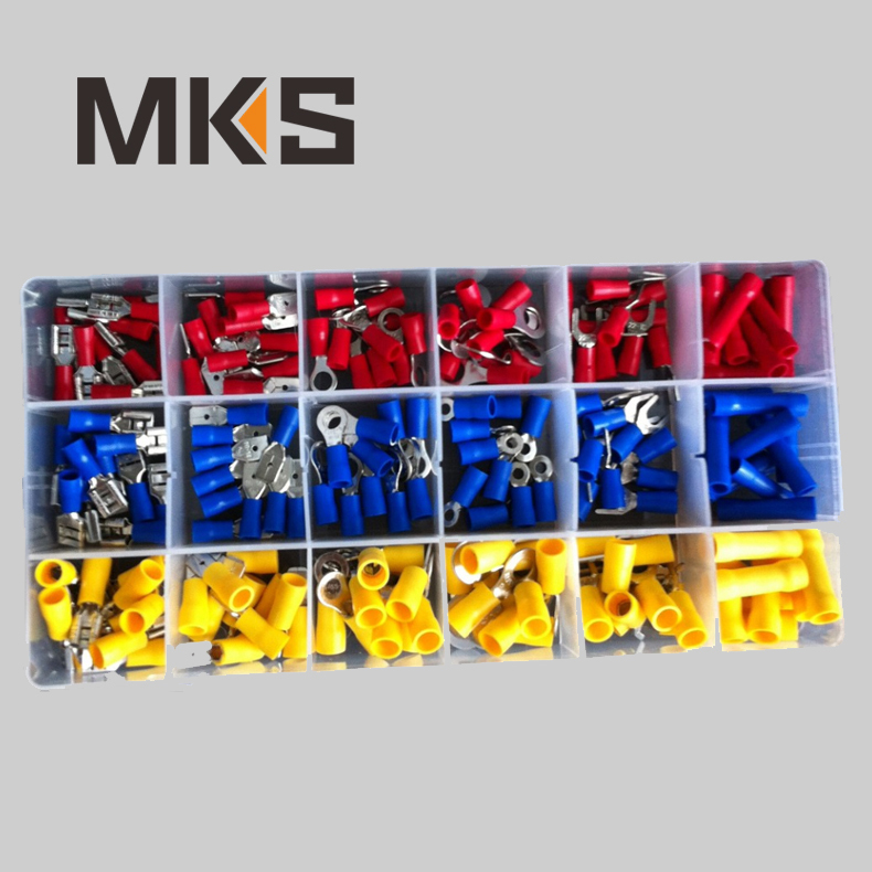 180pcs Mixed Assorted Lug Kit, Insulated Spade Wire Connector Crimp Terminal