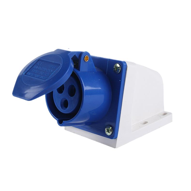 113 123 16A 32A 220V 3 poles blue color industrial wall socket