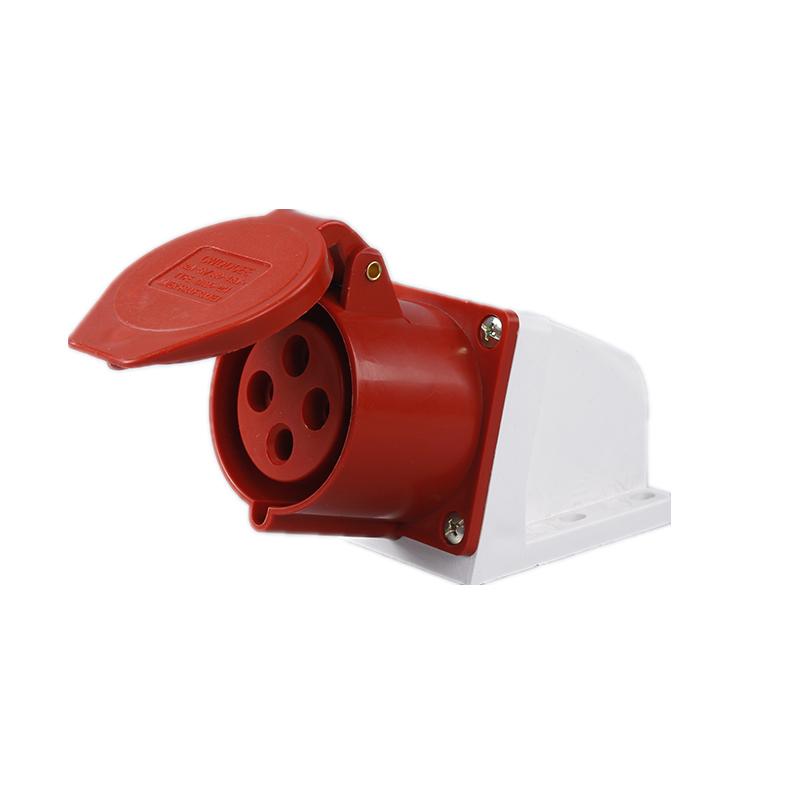 114 124 16A 32A 380V 4 poles red color industrial wall socket