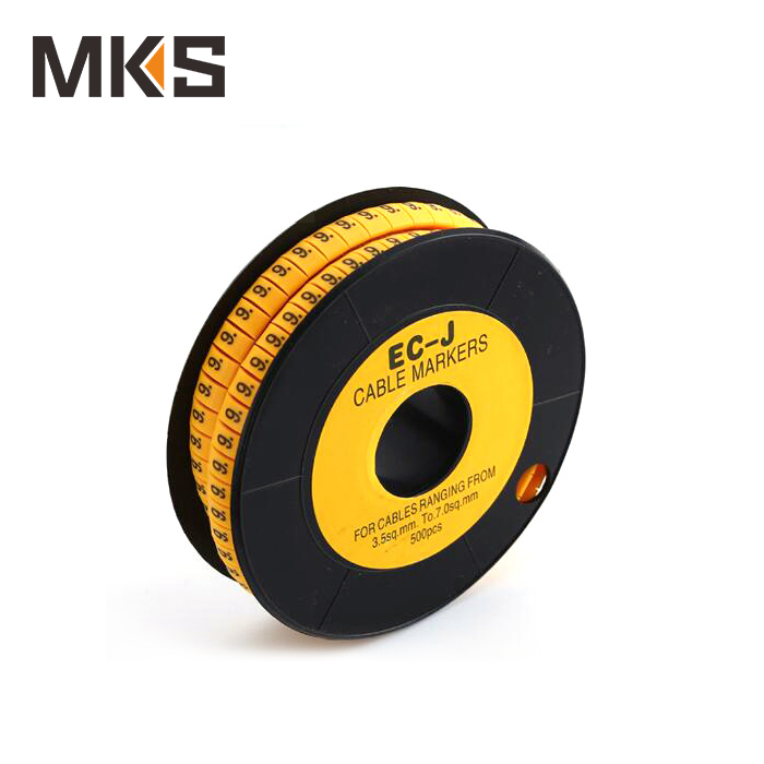 High quality flat PVC Circle Wire cable route marker yellow 2~8mm2 EC-J