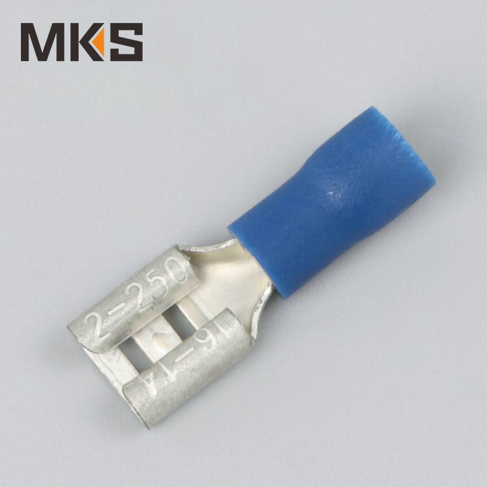 Female brass wire terminal connector 16-14AWG blue color FDD2-250